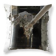 Astronauts Working On The Hubble Space Throw Pillow
