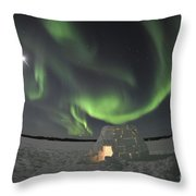 Aurora Borealis Over An Igloo On Walsh Throw Pillow by Jiri Hermann