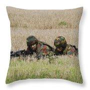 Belgian Paratroopers On Guard Throw Pillow