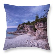 Georgian Bay Cliffs At Sunset Throw Pillow