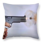 Handgun And .45 Caliber Bullet Throw Pillow