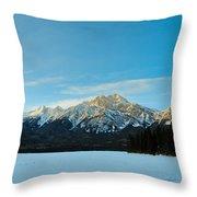 Illuminated Winter Landscape By The Sun Throw Pillow