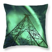 Powerlines And Aurora Borealis Throw Pillow by Arild Heitmann
