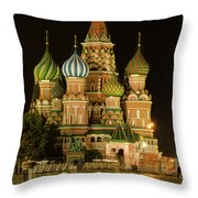 Red Square In Moscow At Night Throw Pillow