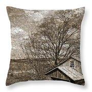 Rustic Hillside Barn Throw Pillow