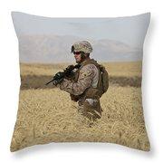 U.s. Marine Patrols A Wadi Near Kunduz Throw Pillow