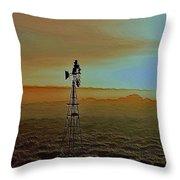 Windmill Water Pump Throw Pillow