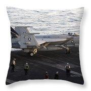 An Fa-18e Super Hornet During Flight Throw Pillow