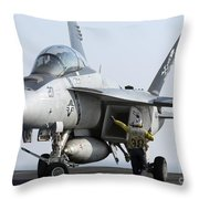 An Fa-18f Super Hornet During Flight Throw Pillow