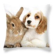 Cocker Spaniel And Rabbit Throw Pillow