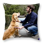 Dog Grooming Throw Pillow