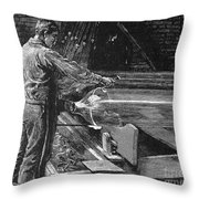 Glassworker, 19th Century Throw Pillow