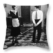 Silent Film Still: Golf Throw Pillow