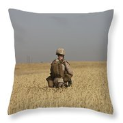 U.s. Marine Patrols A Wadi Near Kunduz Throw Pillow