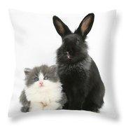 Kitten And Rabbit Throw Pillow