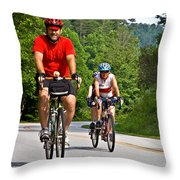 Bicycle Ride Across Georgia Throw Pillow