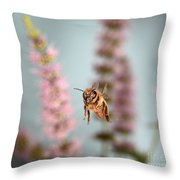 Honey Bee In Flight Throw Pillow