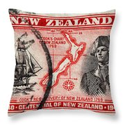 old New Zealand postage stamp Throw Pillow
