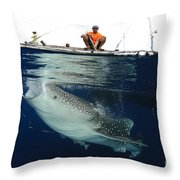 Whale Shark Feeding Under Fishing Throw Pillow