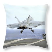 An Fa-18e Super Hornet Launches Throw Pillow