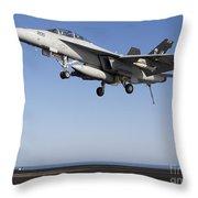 An Fa-18f Super Hornet During Flight Throw Pillow