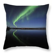 Aurora Borealis Over Long Lake Throw Pillow