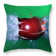 Bullet Hitting An Apple Throw Pillow