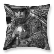 Hdr Image Of A German Army Soldier Throw Pillow
