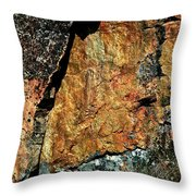Painted Rocks At Hossa With Stone Age Paintings Throw Pillow