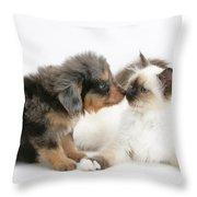 Puppy And Kitten Throw Pillow
