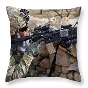 U.s. Army Soldier Provides Security Throw Pillow
