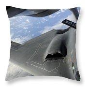 A B-2 Spirit Receives Fuel Throw Pillow by Stocktrek Images