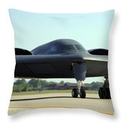 A B-2 Spirit Taxis Onto The Flightline Throw Pillow