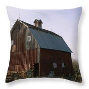 A Barn On A Farm In Nebraka Throw Pillow