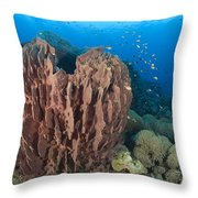 A Barrel Sponge Attached To A Reef Throw Pillow