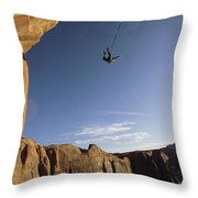 A Base Jumper Leaping With A Parachute Throw Pillow