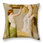A Basket Of Roses - Grecian Girls Throw Pillow by Henry Thomas Schaefer