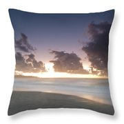 A Beach During Misty Sunset With Glowing Sky Throw Pillow