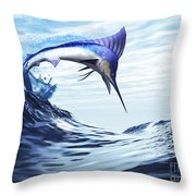 A Beautiful Blue Marlin Bursts Throw Pillow