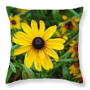 A Beautiful Close Up Of A Sunflower Throw Pillow