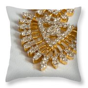 A Beautiful Gold And Diamond Pendant On A White Background Throw Pillow
