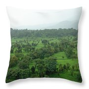 A Beautiful Green Countryside Throw Pillow