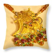 A Beautiful Intricately Carved Gold Pendant Hanging From A Semi-precious Stone Chain Throw Pillow
