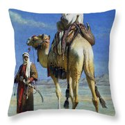 A Bedoueen Family In Wady Mousa Syrian Desert Throw Pillow