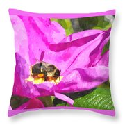 A Bee In A Rose Brpwc Throw Pillow