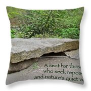 A Bench For Those Who Seek Repose Throw Pillow