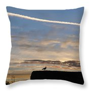 A Bird Outlined Against The Setting Sky At Dover Castle Throw Pillow