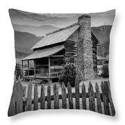 A Black And White Photograph Of An Appalachian Mountain Cabin Throw Pillow