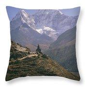A Blue Sky And Mountain Range Throw Pillow