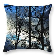 A Blue Winter's Eve Throw Pillow